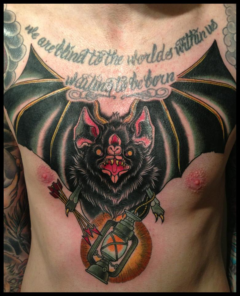 Trendy Black And Red Color Ink Huge Chest Bat Tattoo For Boys