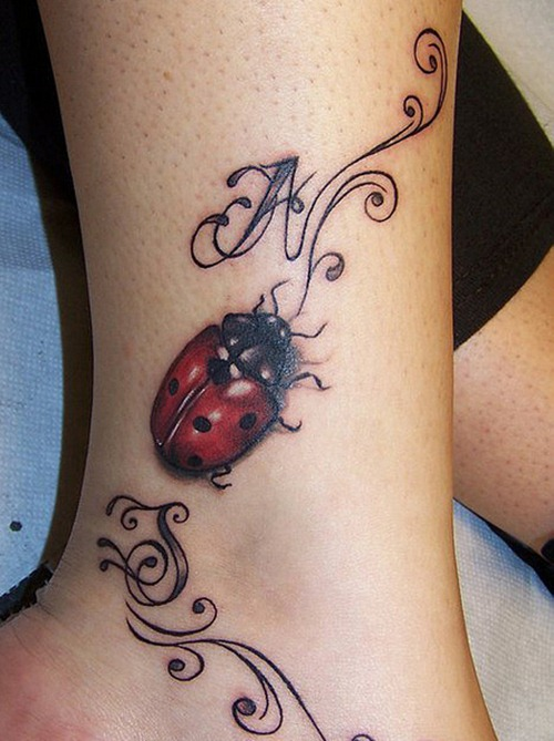Trendy Black And Red Color Ink Lady Bug Tattoo On Leg For Girls
