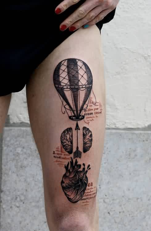 Trendy Black Color Ink Air Balloon Arrow And Heart Tattoos On Thigh For Girls