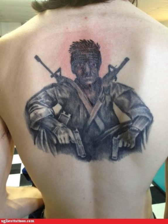 Trendy Black Color Ink Army Man With Guns Tattoo On Back For Boys