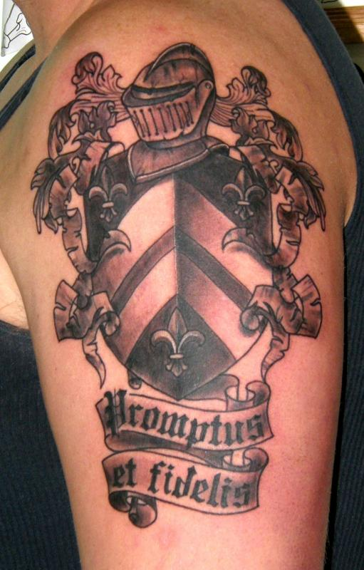 Trendy Black Color Ink Family Crest Tattoo For Biceps For Girls
