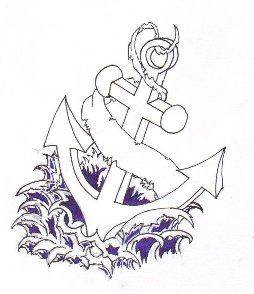 Trendy Blue And Black Color Ink Cross Anchor Tattoo Design For Girls