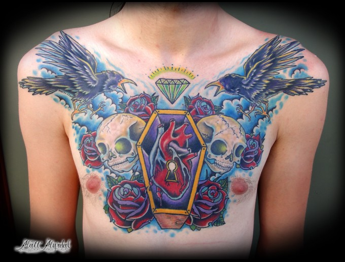 Trendy Blue Yellow Black And Red Color Ink Heart Coffin Skull & Roses Tattoo On Chest For Boys