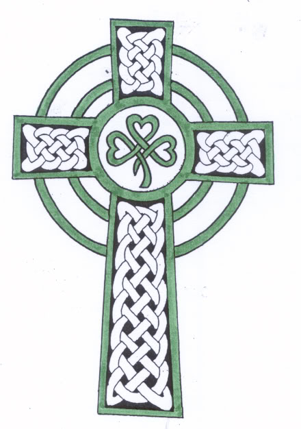 Trendy Green And White Color Ink Tribal Celtic Cross Tattoo Design For Boys