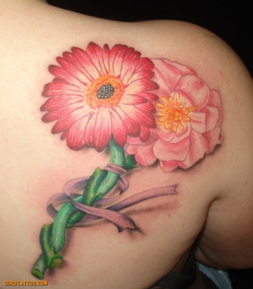 Trendy Green White Red And Black Color Ink Daisy Flowers Tattoo On Back Shoulder For Girls