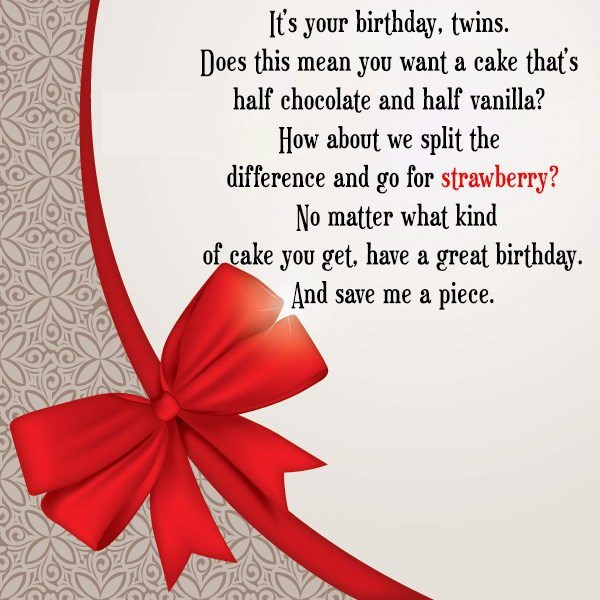 Twins Birthday Greetings Message Image