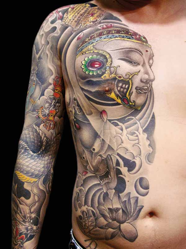 Ultimate Black And Yellow Color Ink Asian Body Tattoo Art On Shoulder For Boys