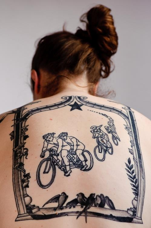 Ultimate Black Color Ink Cycle Tattoo Designs On Back Of Women