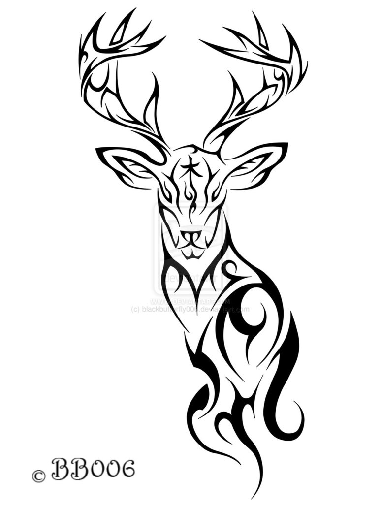 Ultimate Black Color Ink Tribal Deer Tattoo Design For Girls