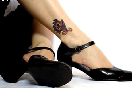 Ultimate Blue And Red Color Ink Ankle Tattoo Design For Girls On Girl Foot