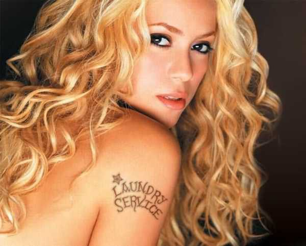 Ultimate Grey Color Ink Laundry Service Tattoo On Celebrity Shoulder For Girls Only