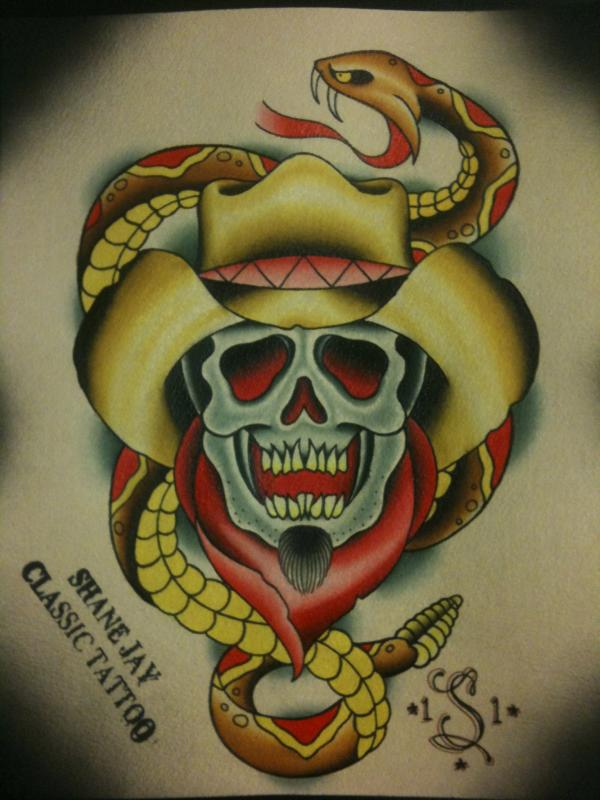 Ultimate Yellow White Black And Red Color Ink Cowboy Skull With Snake Tattoo Design For Boys