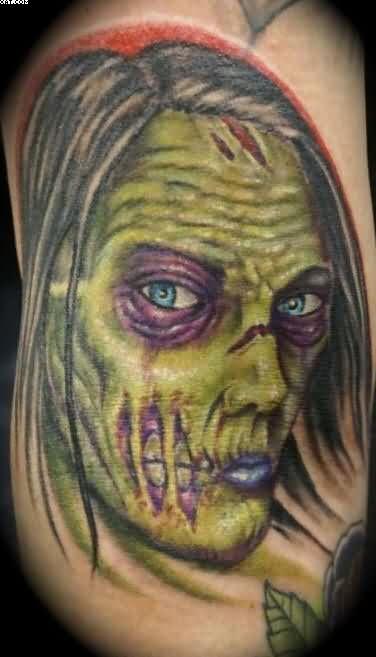 Very Beautiful Blue Eyes Zombie Woman Tattoo