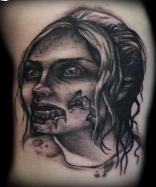 Very Dangerous A Female Zombie Tattoo On Back