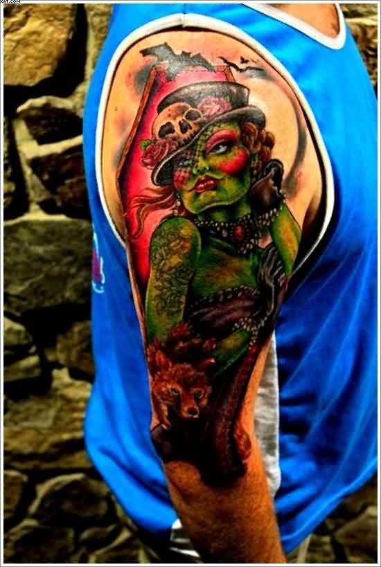 Very Dangerous Zombie Lady Tattoo On Arm With Colorful Ink
