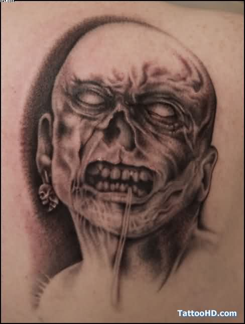 Very Dangerous Zombie Tattoo With Black Ink