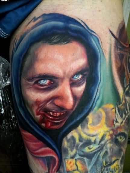 Very Realistic Zombie Bleeding Face Tattoo With Hoody
