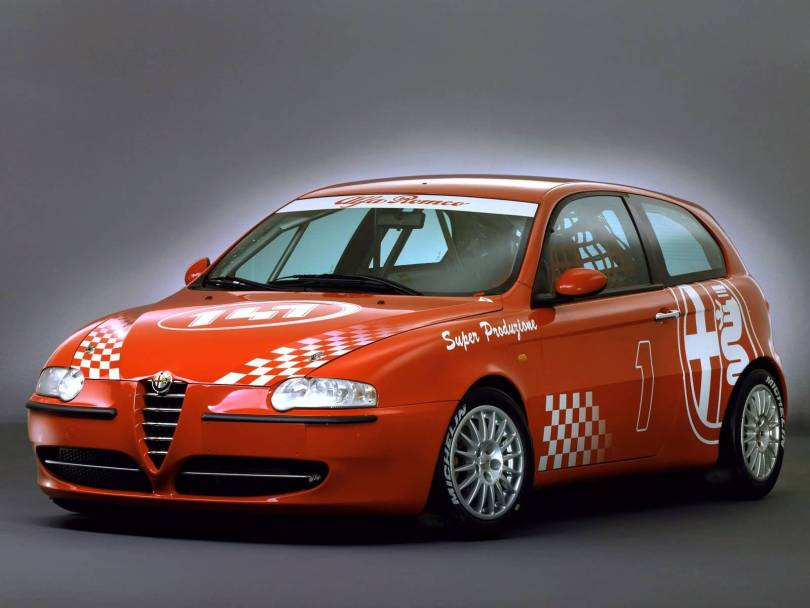 Very fast red Alfa Romeo Motorsport car