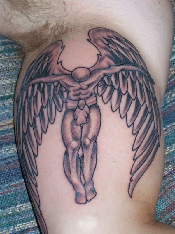 Weird Black And Red Color Ink Inner Biceps Angel Tattoo Design For Boys