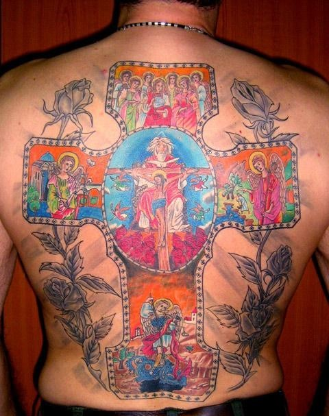 Weird Blue Red And Black Color Ink Christian Tattoo On Back For Boys