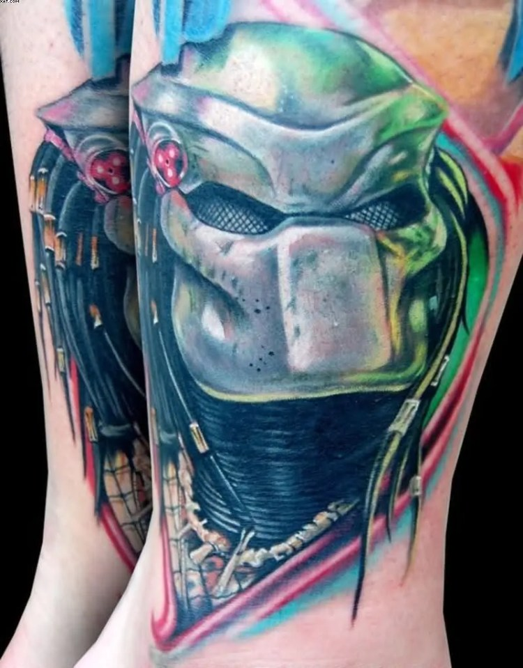 Weird Green And Blue Color Ink Alien Predator Tattoo For Boys