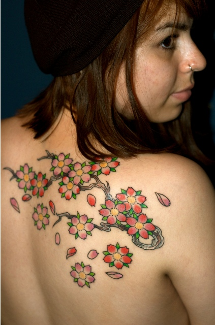 Weird Green Black And Red Color Ink Cherry Blossom Tattoo On Back For Women
