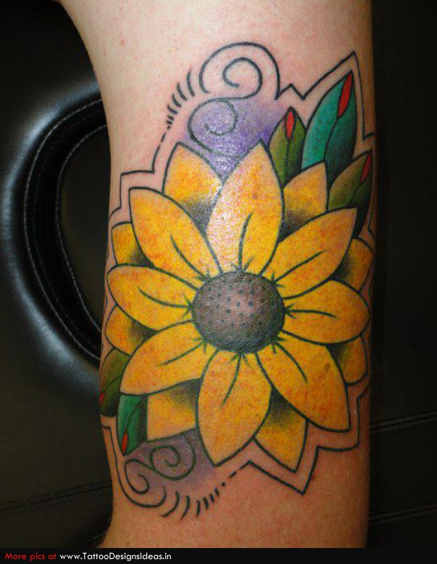 Weird Green Blue And Yellow Color Ink Daisy Flower Tattoo Design For Boys