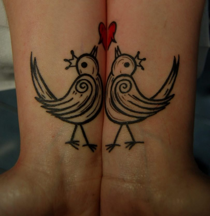 Weird Red And Black Color Ink Bourke Birds Couple Tattoo On Wrist For Couple