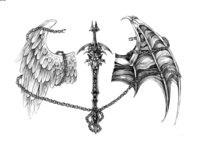 Wings Tattoo Sample Design With Sword
