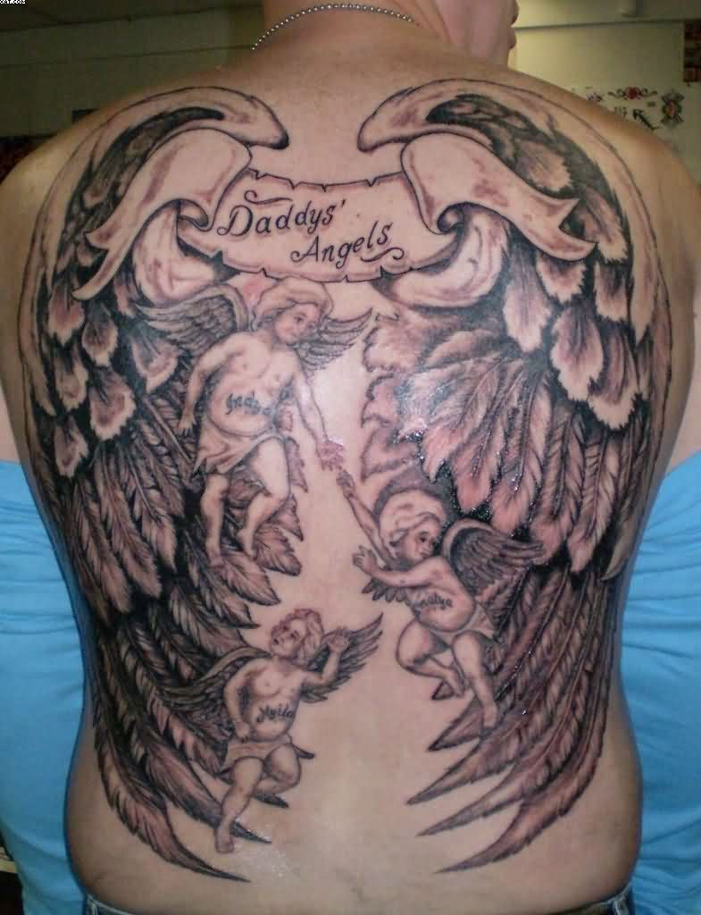 Wings Tattoos On Full Back With Little Angles With Black Ink For Girls
