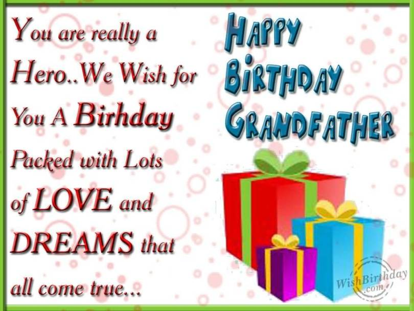 With Love Happy Birthday Dear Grandfather Wishes Image