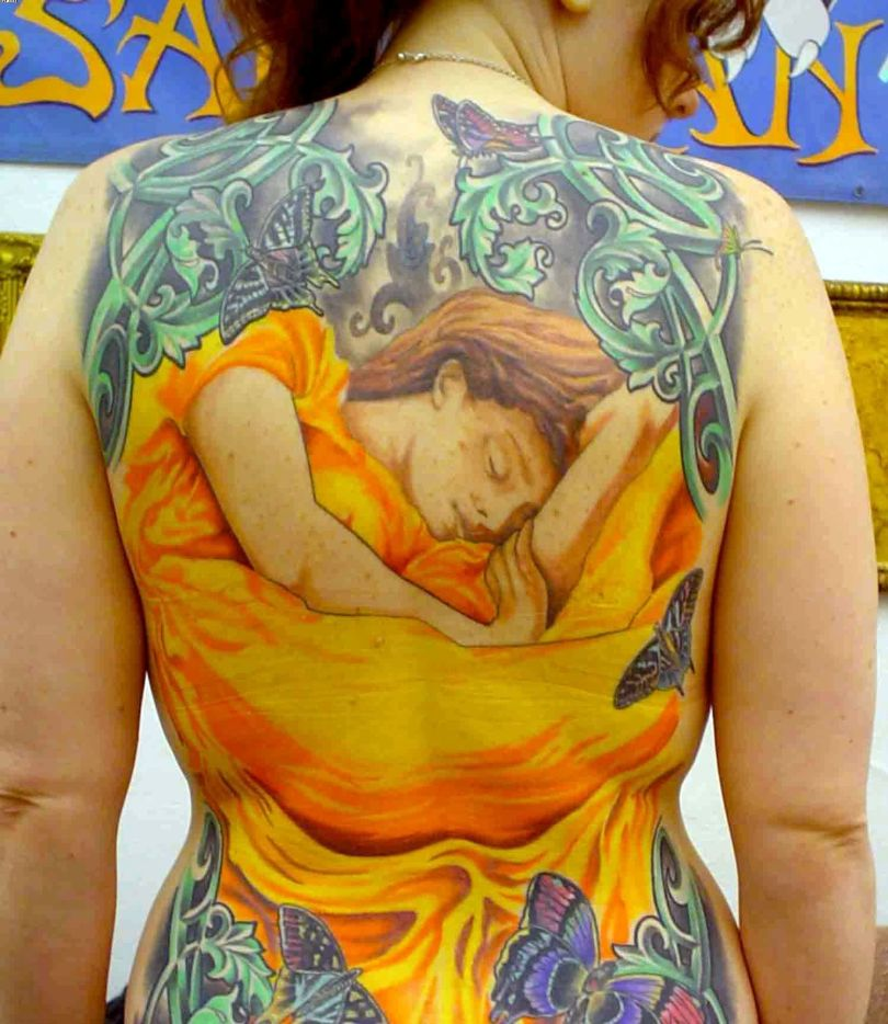 Wonderful Flaming June Tattoo Full On Back For Women In Colorful Ink
