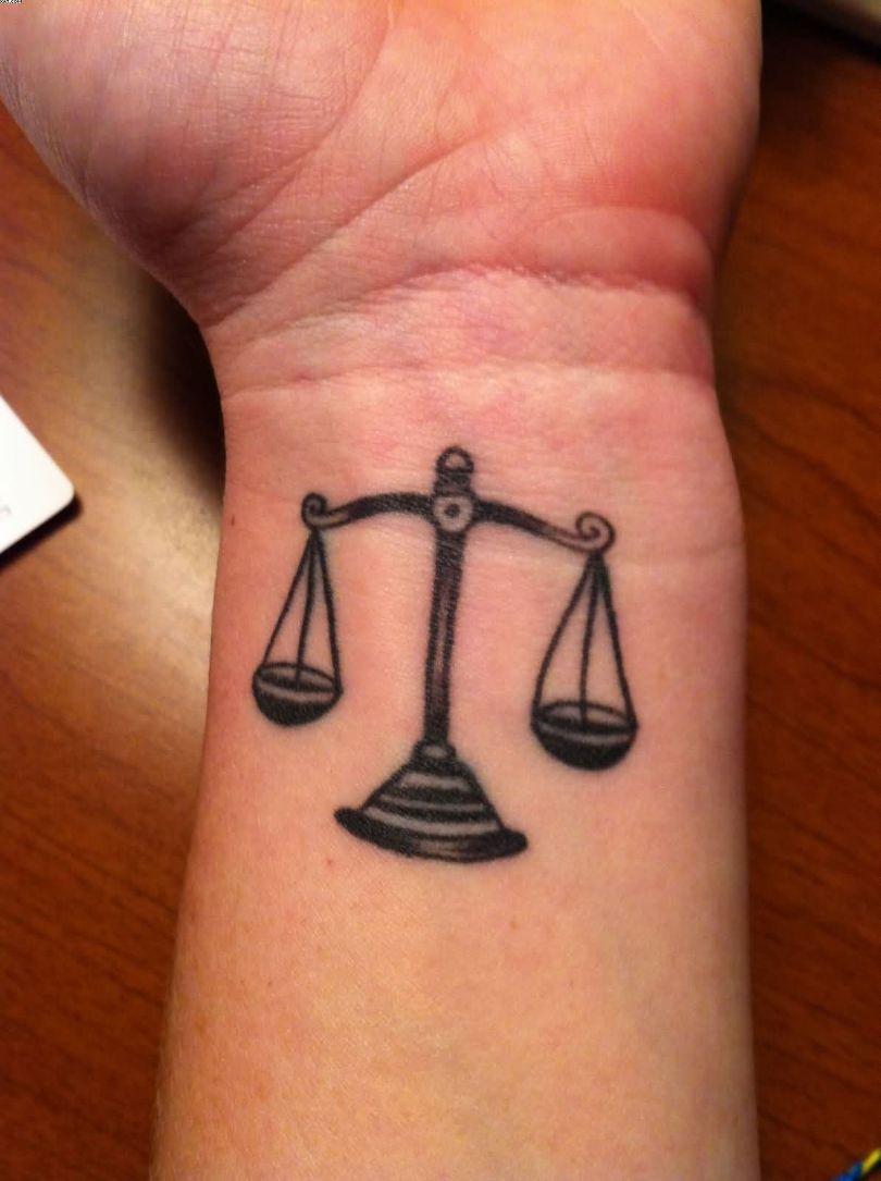 Wonderful Libra Wrist Tattoo On Wrist With Black Ink For Girls