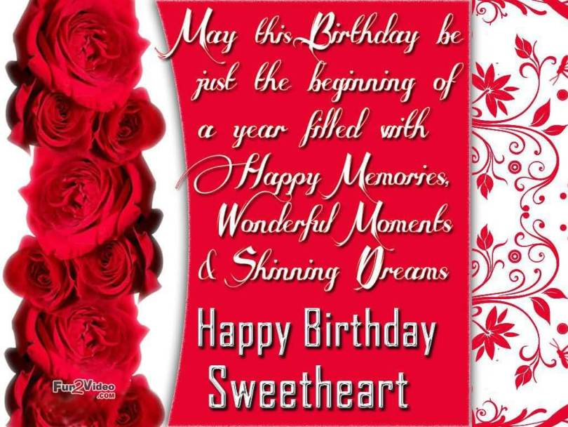 Wonderful Moment & Shinning Dream Happy Birthday Sweetheart Greetings Quotes