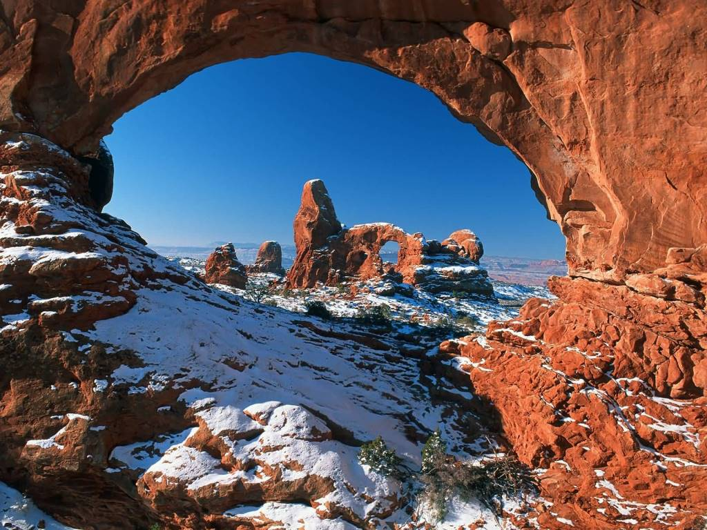 Wonderful Natural Window Arches National Park Utah 4K Wallpaper