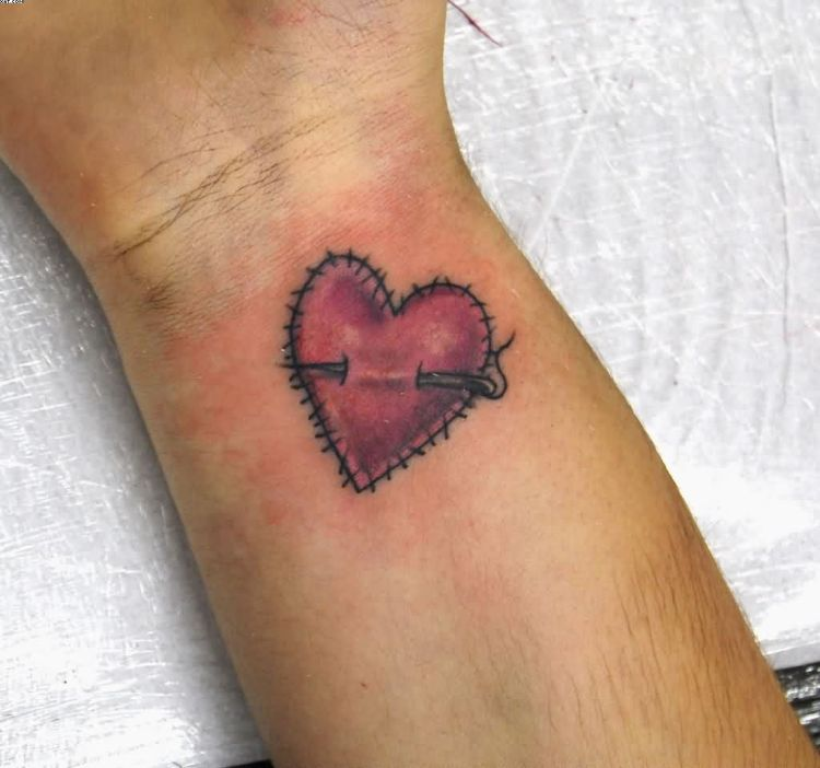 Wow Wrist Heart TattooStiches With Black And Red Ink