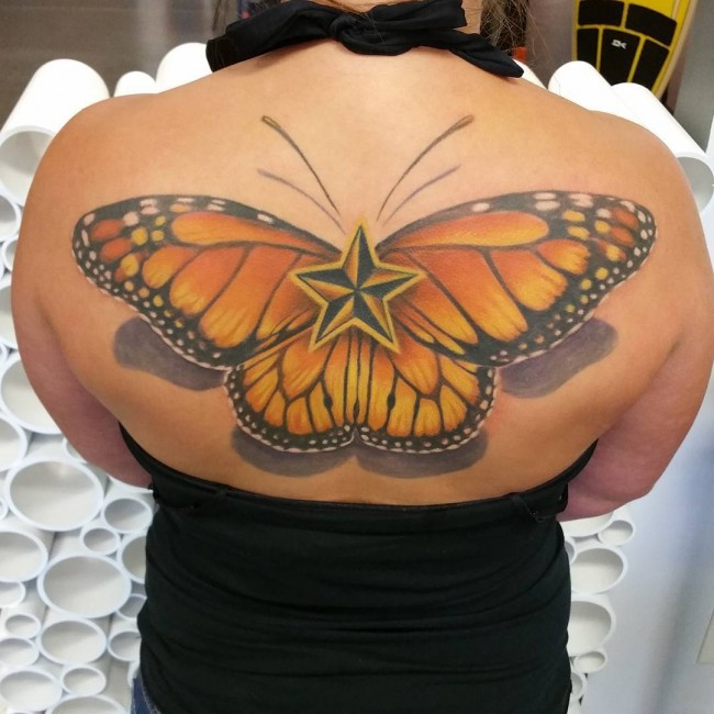 best back tattoo with colorful ink for man and woman