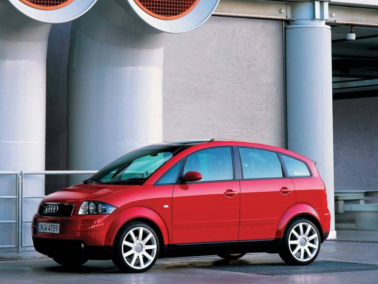 left side view of awesome Red Audi A2 car