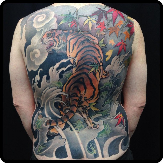 most amazing back tattoo with colorful ink for man and woman