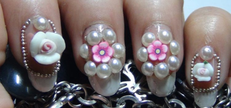 3D Rose Flower And Pearls Design Nail Art Idea