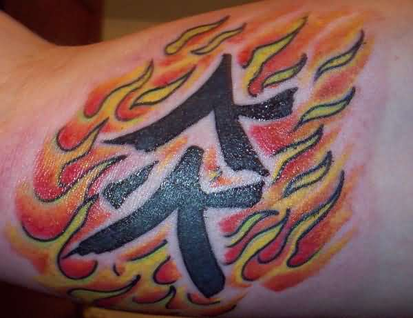 Adorable Chinese Fire Tattoo On Shoulder For Girls