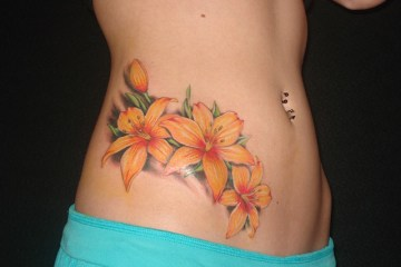 Adorable Flowers Tattoo On Hip For Girls