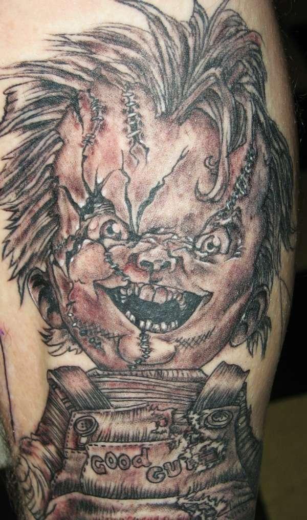Adorable Horror Chucky Tattoo Design For Boys