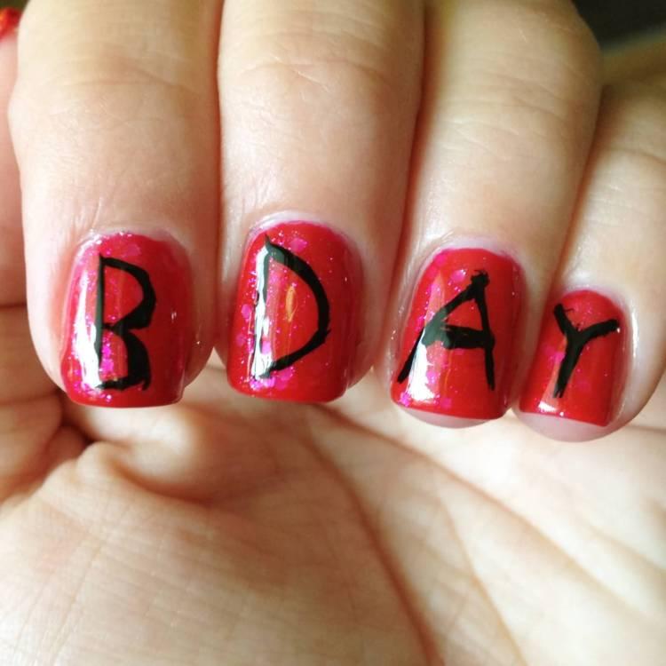 Amazing BDAY Written On Nails Birthday Nail Art