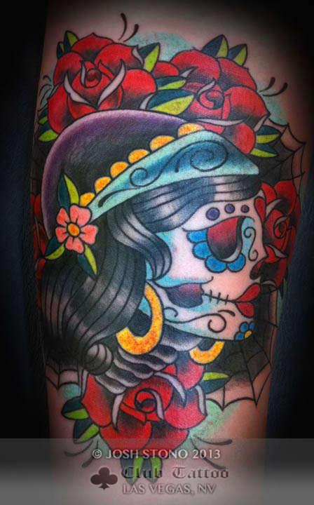 Amazing Dia De Los Muertos Tattoo Design For Girls