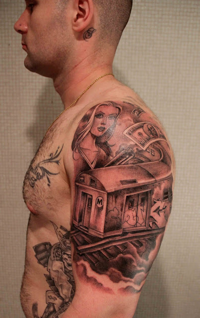 Amazing Gangster Tattoo On Left Shoulder For Boys