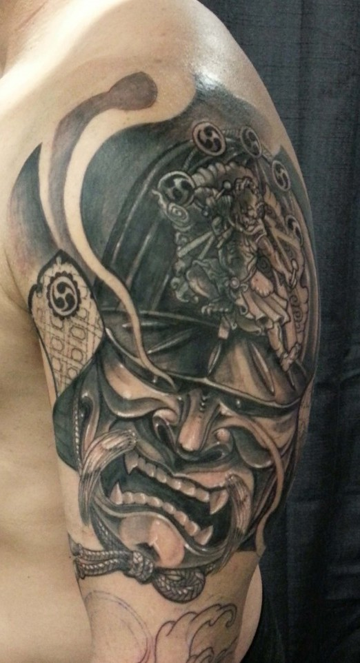 Amazing Samurai Helmet Tattoo On Half Sleeve For Boys