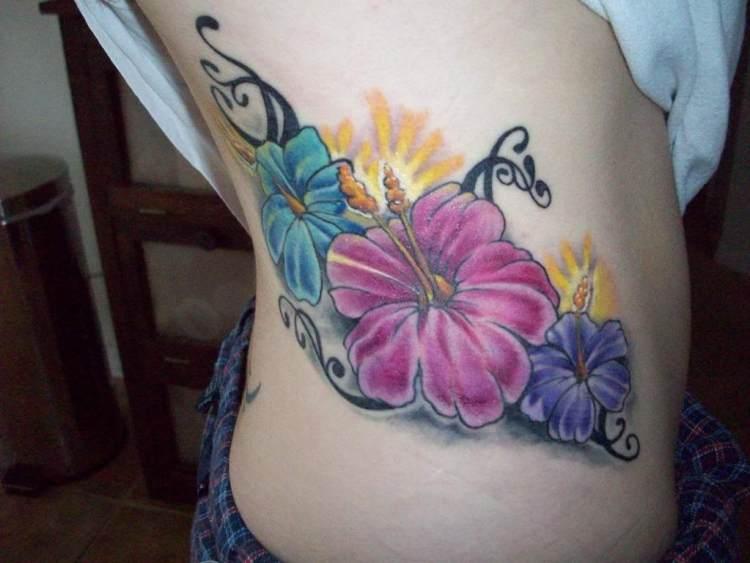 Amazing Tribal Hibiscus Flower Tattoo For Women