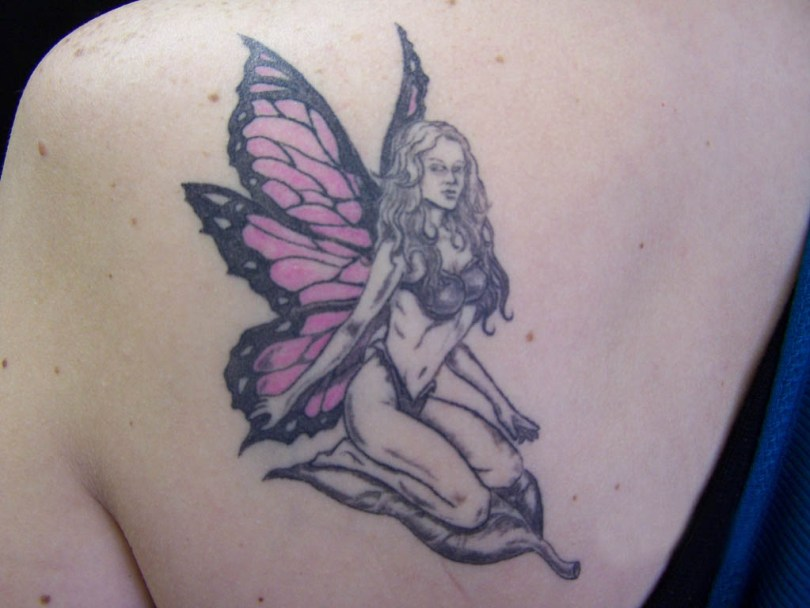 Attractive Butterfly Fairy Tattoo On Back Of Shoulder For Girls