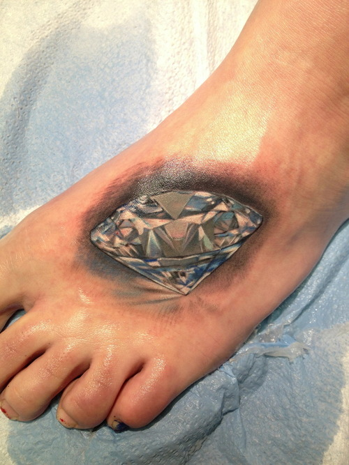 Attractive Crystal Diamond Tattoo On Foot For Boys